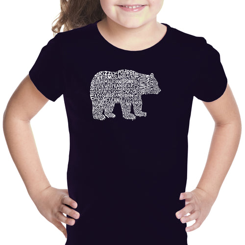 LA Pop Art Girl's Word Art T-shirt - Bear Species