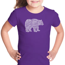 Load image into Gallery viewer, LA Pop Art Girl's Word Art T-shirt - Bear Species
