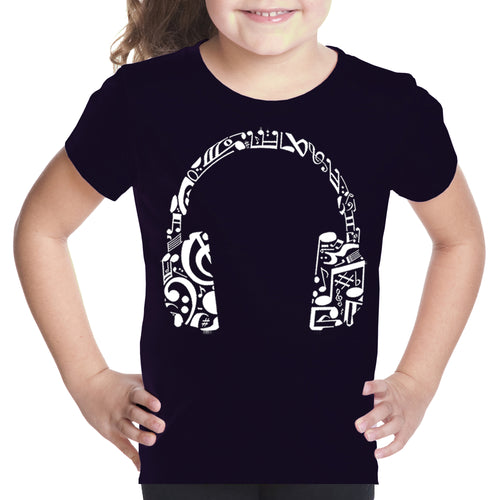 LA Pop Art Girl's Word Art T-shirt - Music Note Headphones