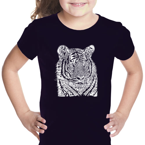 LA Pop Art Girl's Word Art T-shirt - Big Cats