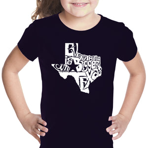 LA Pop Art Girl's Word Art T-shirt - Everything is Bigger in Texas