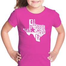 Load image into Gallery viewer, LA Pop Art Girl's Word Art T-shirt - Everything is Bigger in Texas