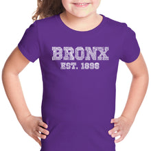 Load image into Gallery viewer, LA Pop Art Girl's Word Art T-shirt - POPULAR NEIGHBORHOODS IN BRONX, NY