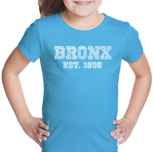 LA Pop Art Girl's Word Art T-shirt - POPULAR NEIGHBORHOODS IN BRONX, NY