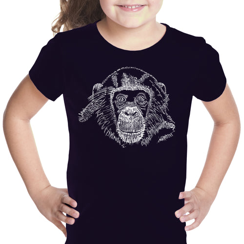 LA Pop Art Girl's Word Art T-shirt - Chimpanzee