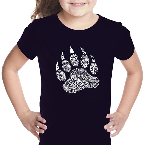 LA Pop Art Girl's Word Art T-shirt - Types of Bears