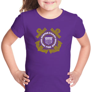 LA Pop Art Girl's Word Art T-shirt - Coast Guard