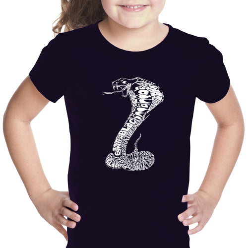 LA Pop Art Girl's Word Art T-shirt - Types of Snakes