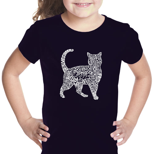 LA Pop Art Girl's Word Art T-shirt - Cat