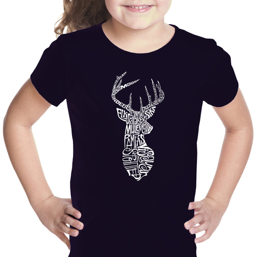 LA Pop Art Girl's Word Art T-shirt - Types of Deer