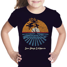 Load image into Gallery viewer, LA Pop Art Girl's Word Art T-shirt - Cities In San Diego