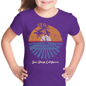 LA Pop Art Girl's Word Art T-shirt - Cities In San Diego