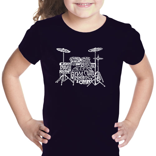 LA Pop Art Girl's Word Art T-shirt - Drums