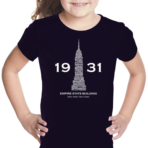 LA Pop Art Girl's Word Art T-shirt - Empire State Building