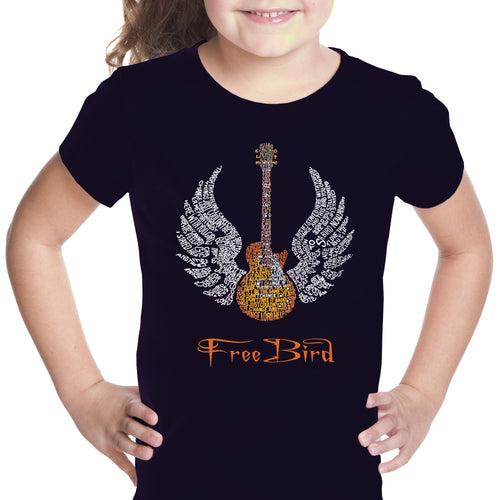 LA Pop Art Girl's Word Art T-shirt - LYRICS TO FREE BIRD