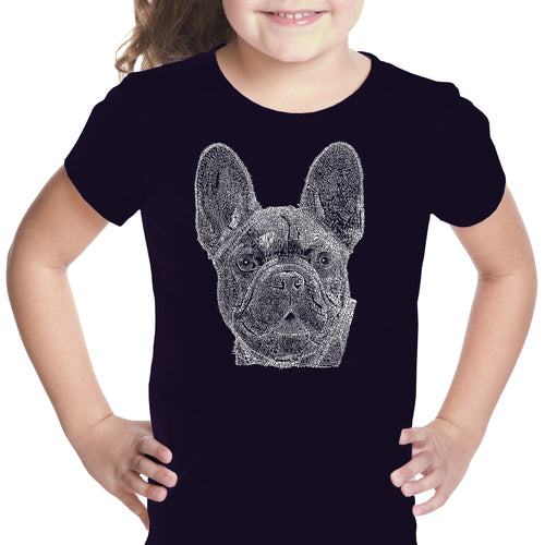 LA Pop Art Girl's Word Art T-shirt - French Bulldog