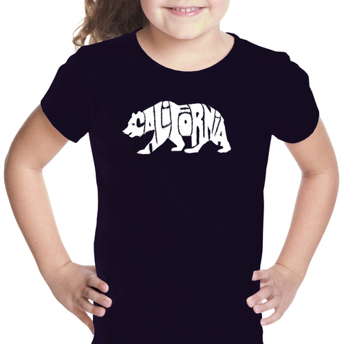 LA Pop Art Girl's Word Art T-shirt - California Bear