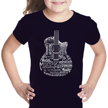 Load image into Gallery viewer, LA Pop Art Girl's Word Art T-shirt - Languages Guitar