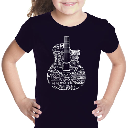LA Pop Art Girl's Word Art T-shirt - Languages Guitar