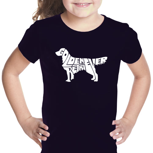 LA Pop Art Girl's Word Art T-shirt - Golden Retreiver
