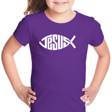 Load image into Gallery viewer, LA Pop Art Girl's Word Art T-shirt - Christian Jesus Name Fish Symbol
