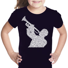 Load image into Gallery viewer, LA Pop Art Girl's Word Art T-shirt - ALL TIME JAZZ SONGS