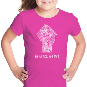 LA Pop Art Girl's Word Art T-shirt - No Justice, No Peace