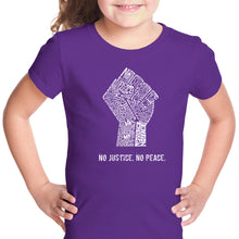 Load image into Gallery viewer, LA Pop Art Girl's Word Art T-shirt - No Justice, No Peace