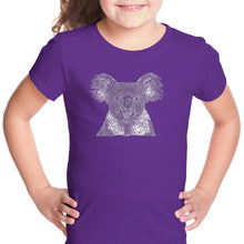 Load image into Gallery viewer, LA Pop Art Girl's Word Art T-shirt - Koala