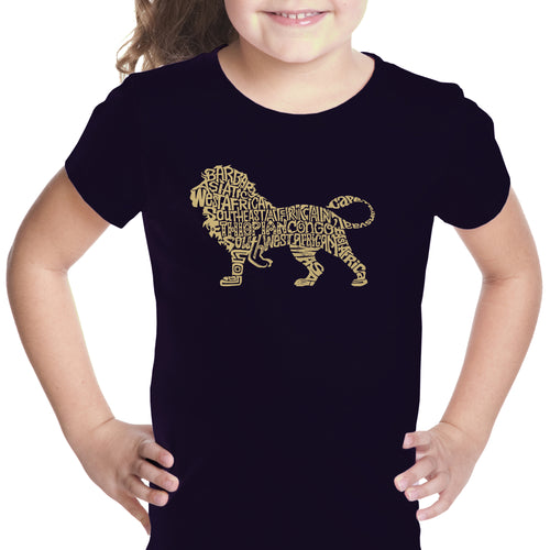 LA Pop Art Girl's Word Art T-shirt - Lion