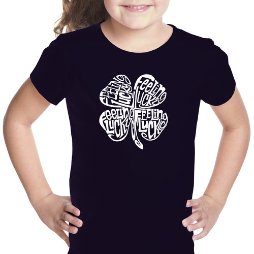 LA Pop Art Girl's Word Art T-shirt - Feeling Lucky