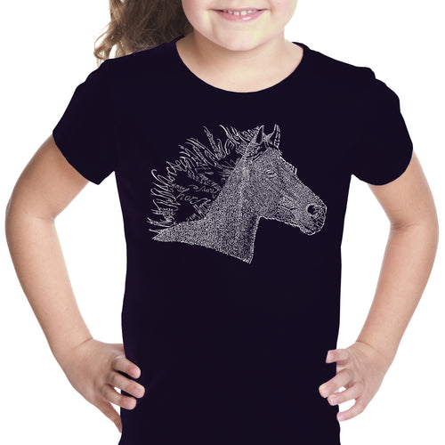 LA Pop Art Girl's Word Art T-shirt - Horse Mane