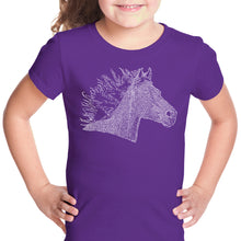 Load image into Gallery viewer, LA Pop Art Girl's Word Art T-shirt - Horse Mane