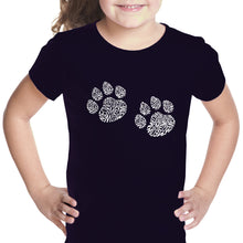 Load image into Gallery viewer, LA Pop Art Girl's Word Art T-shirt - Meow Cat Prints