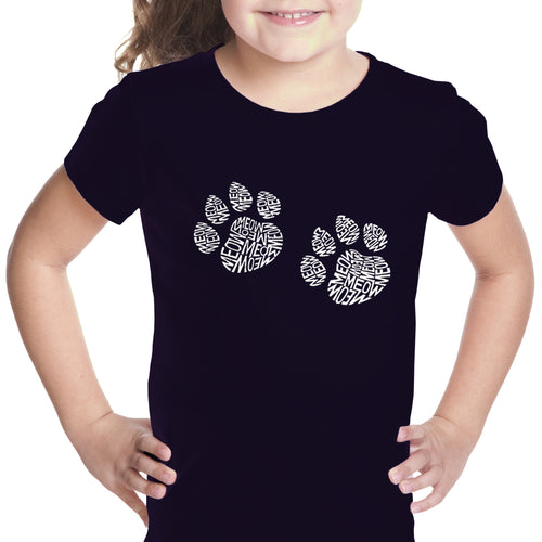 LA Pop Art Girl's Word Art T-shirt - Meow Cat Prints