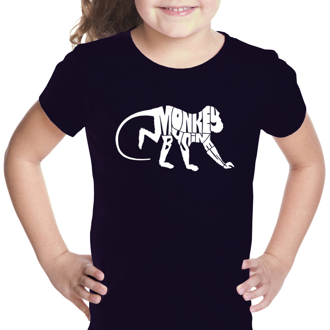 LA Pop Art Girl's Word Art T-shirt - Monkey Business