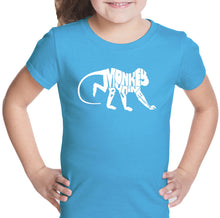 Load image into Gallery viewer, LA Pop Art Girl's Word Art T-shirt - Monkey Business