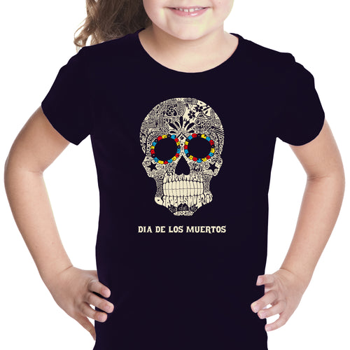 LA Pop Art Girl's Word Art T-shirt - Dia De Los Muertos