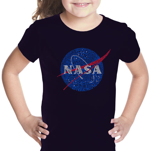 LA Pop Art Girl's Word Art T-shirt - NASA's Most Notable Missions