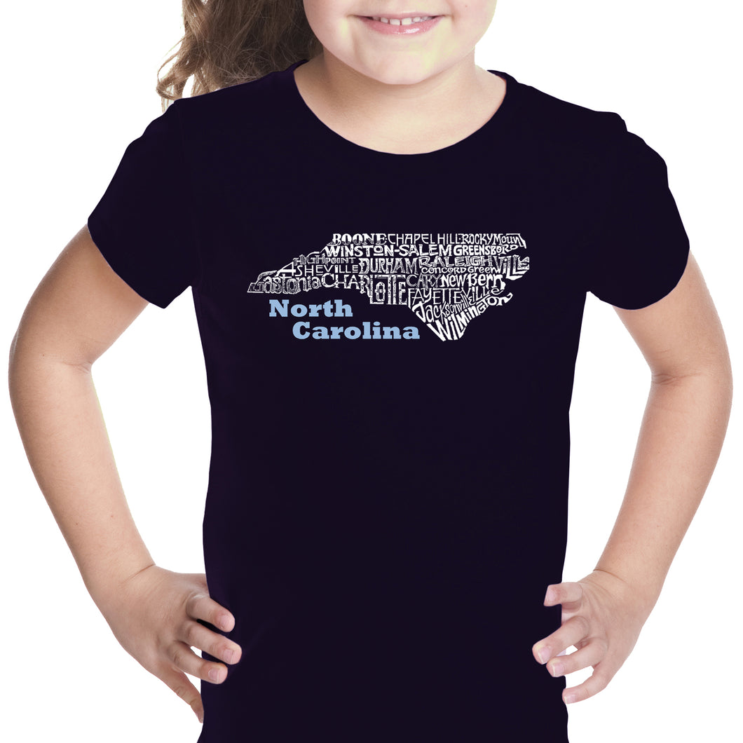 LA Pop Art Girl's Word Art T-shirt - North Carolina