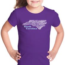 Load image into Gallery viewer, LA Pop Art Girl's Word Art T-shirt - North Carolina