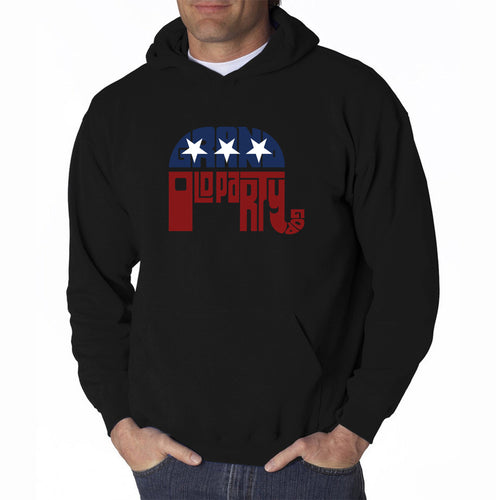 LA Pop Art Men's Word Art Hooded Sweatshirt - REPUBLICAN - GRAND OLD PARTY