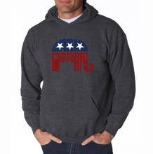 Load image into Gallery viewer, LA Pop Art Men's Word Art Hooded Sweatshirt - REPUBLICAN - GRAND OLD PARTY