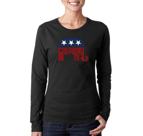 LA Pop Art Women's Word Art Long Sleeve T-Shirt - REPUBLICAN - GRAND OLD PARTY