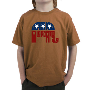 LA Pop Art Boy's Word Art T-shirt - REPUBLICAN - GRAND OLD PARTY