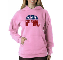 Load image into Gallery viewer, LA Pop Art Women's Word Art Hooded Sweatshirt -REPUBLICAN - GRAND OLD PARTY