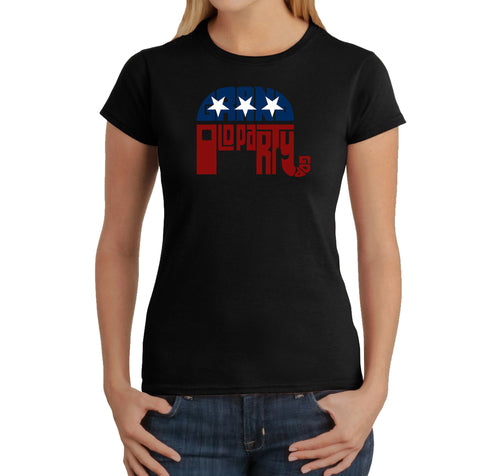 LA Pop Art Women's Word Art T-Shirt - REPUBLICAN - GRAND OLD PARTY