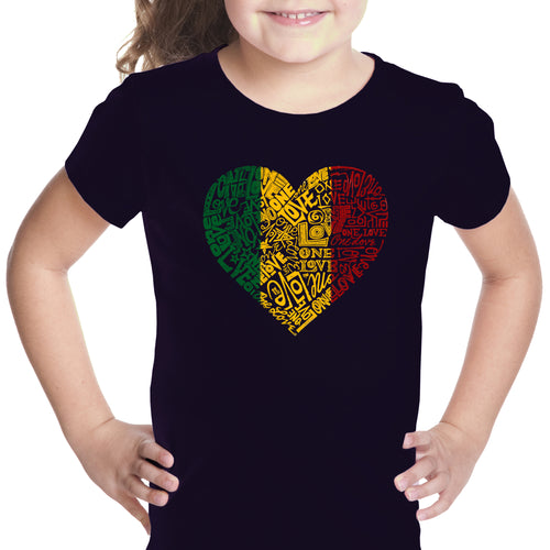 LA Pop Art Girl's Word Art T-shirt - One Love Heart