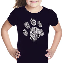 Load image into Gallery viewer, LA Pop Art Girl's Word Art T-shirt - Dog Paw