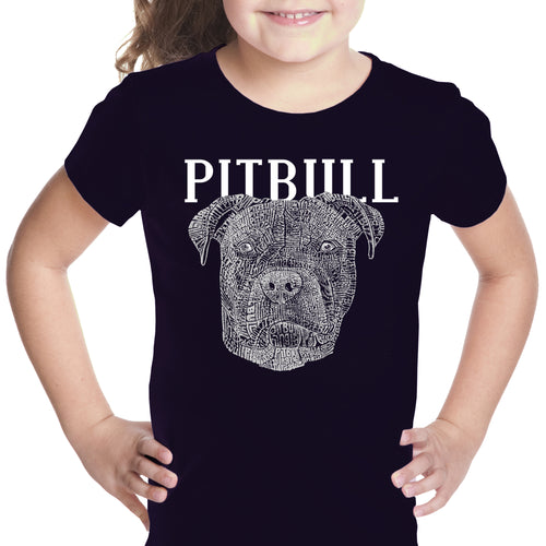 LA Pop Art Girl's Word Art T-shirt - Pitbull Face